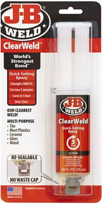 Imagen del adhesivo JB Weld Clear Weld que sirve para unir metal al cristal