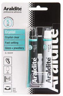 Muestra el envase del adhesivo Araldite Crystal