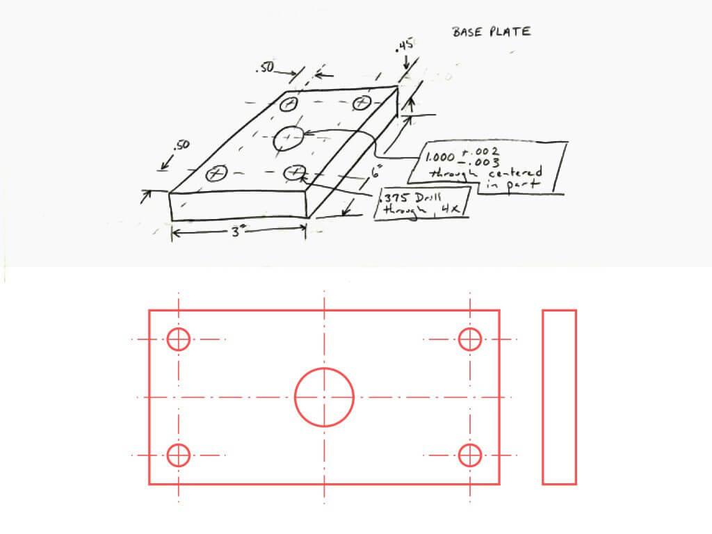 Convertir esquema boceto a CAD 2D vectorizado