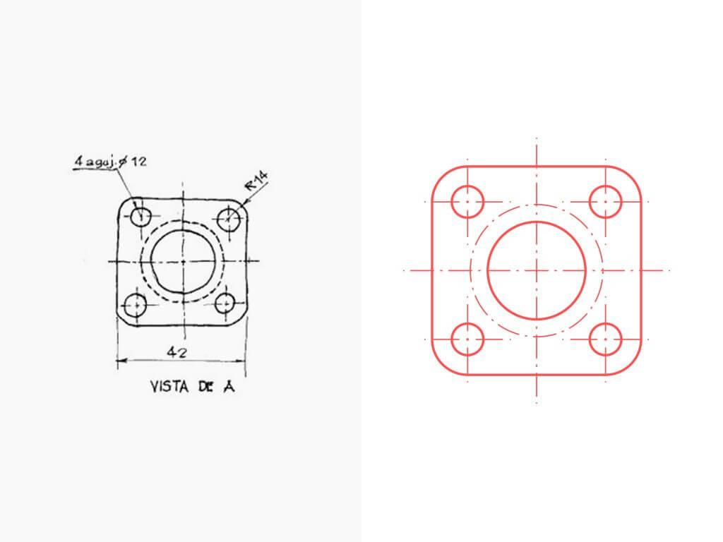 Convertir pieza dibujada a CAD 2D o vectorial
