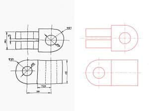 Convertir esquema pieza industrial a CAD 2D