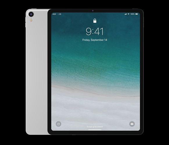 Vista frontal del modelo 3D del iPad Pro 2018