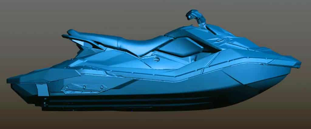 Captura de pantalla de una moto de agua escaneada en 3D