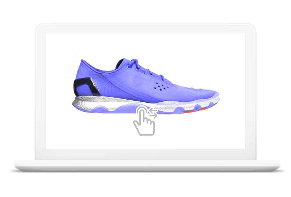 Zapatilla escaneada donde el usuario Interactúa con el modelo digitalizado en 3D