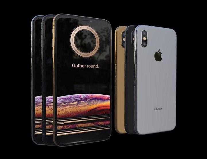 Vista frontal del modelo 3D del iPhone X para descargar el archivo 3D del iPhoneX