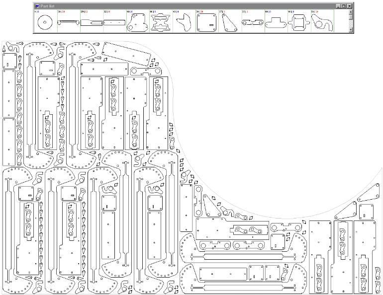 Ejemplo de anidado de piezas en plancha de chapa
